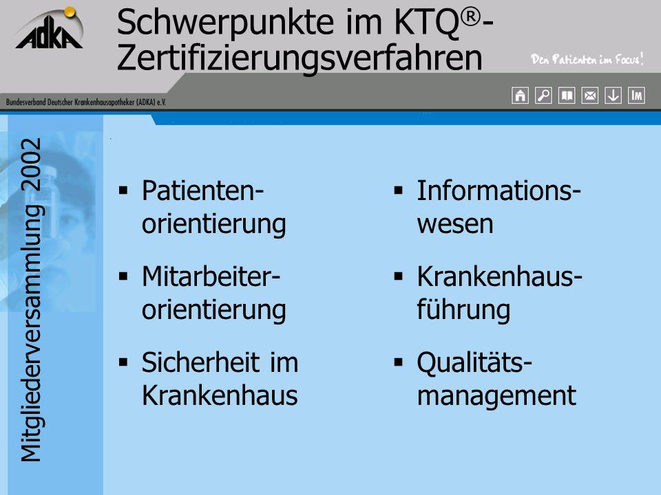 Schwerpunkte im KTQ®-Zertifizierungsverfahren