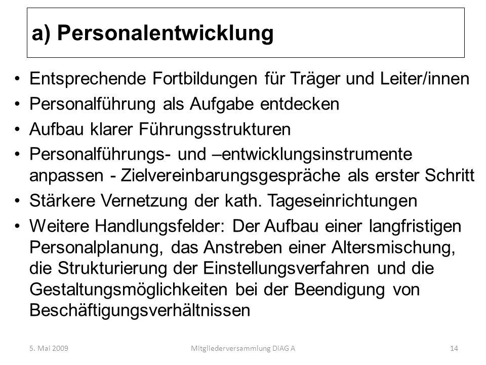 a) Personalentwicklung