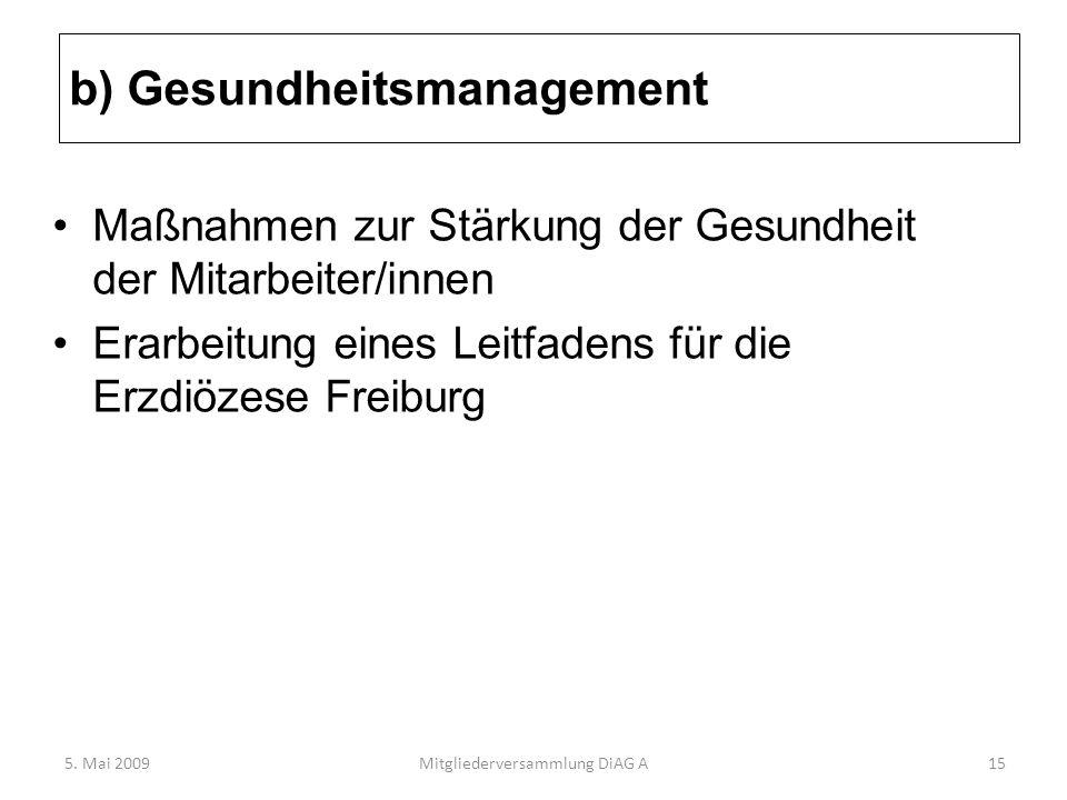 b) Gesundheitsmanagement