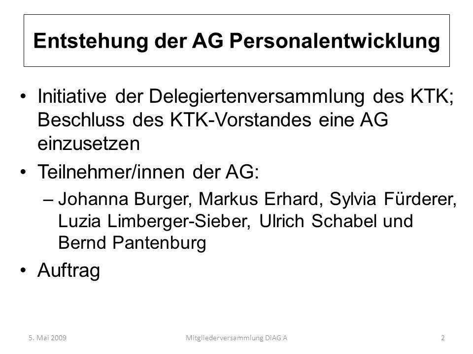 Entstehung der AG Personalentwicklung