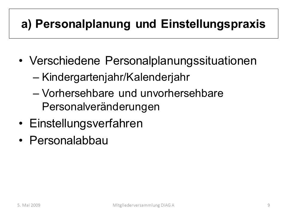 a) Personalplanung und Einstellungspraxis