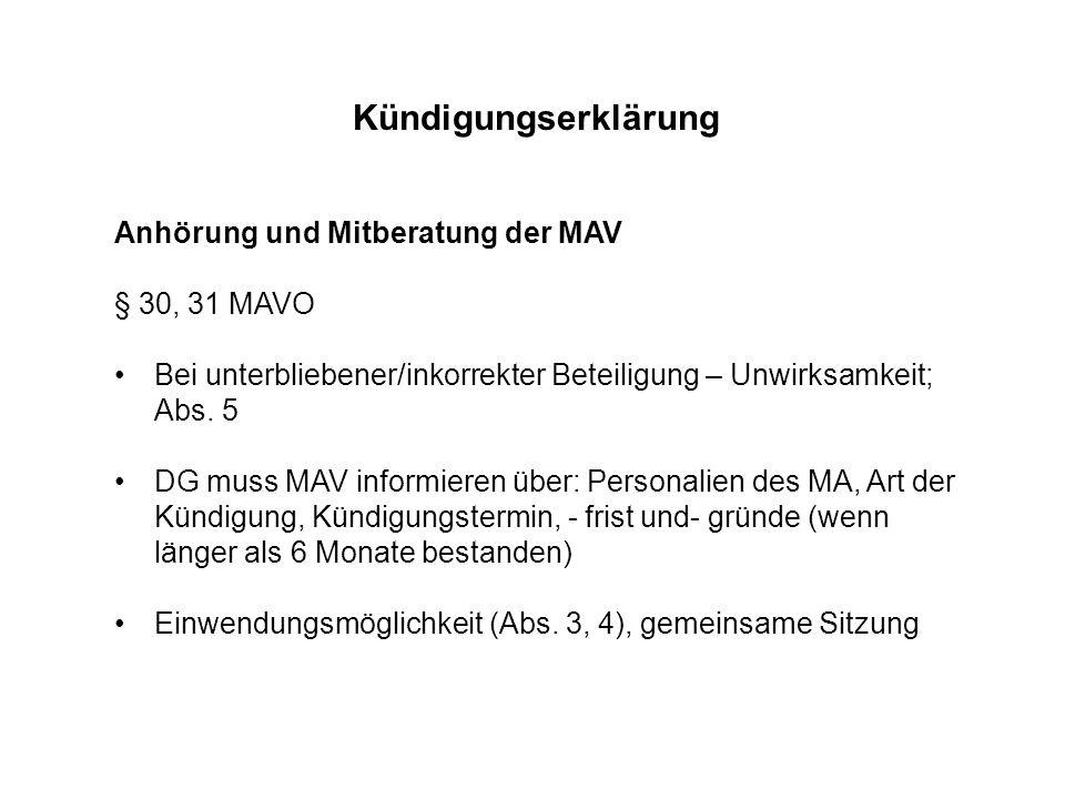 Kündigungserklärung Anhörung und Mitberatung der MAV § 30, 31 MAVO