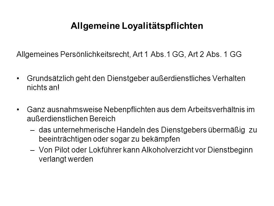 Allgemeine Loyalitätspflichten