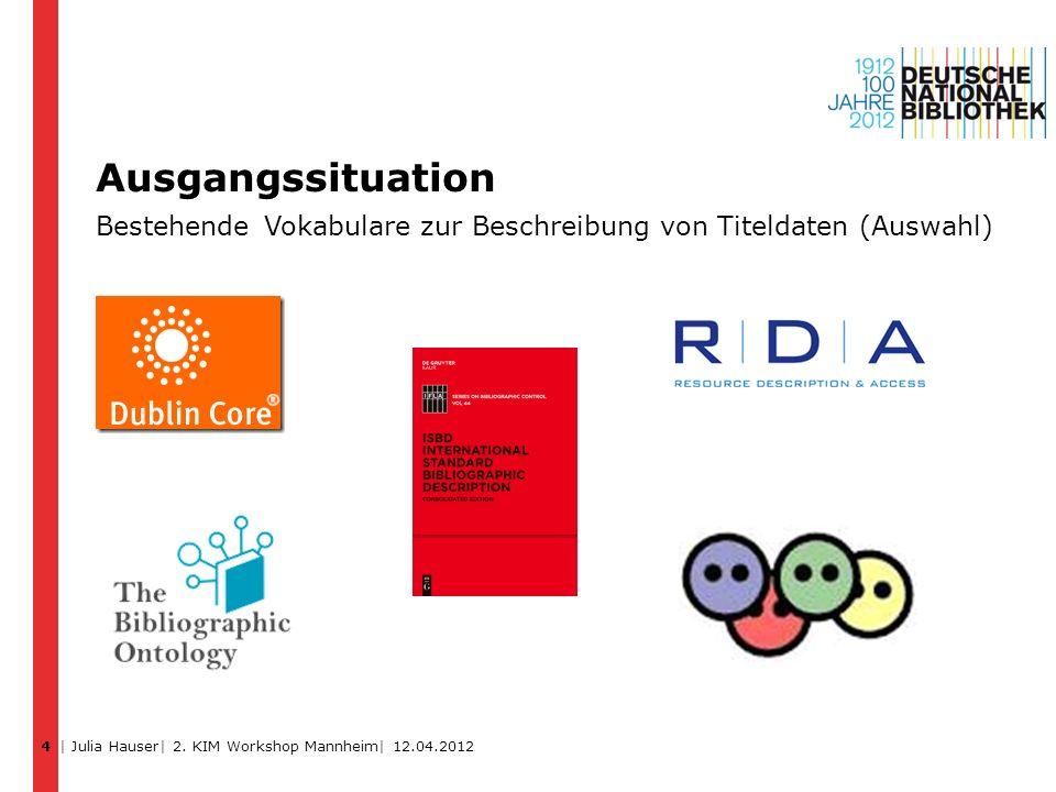 4 Ausgangssituation Bestehende Vokabulare zur Beschreibung von Titeldaten (Auswahl) | Julia Hauser| 2.