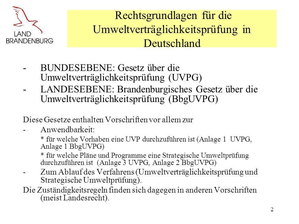 Rechtsgrundlagen für die Umweltverträglichkeitsprüfung in Deutschland
