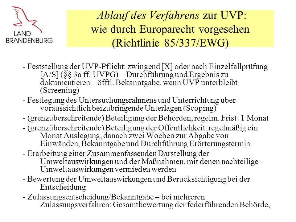 Ablauf des Verfahrens zur UVP: wie durch Europarecht vorgesehen (Richtlinie 85/337/EWG)