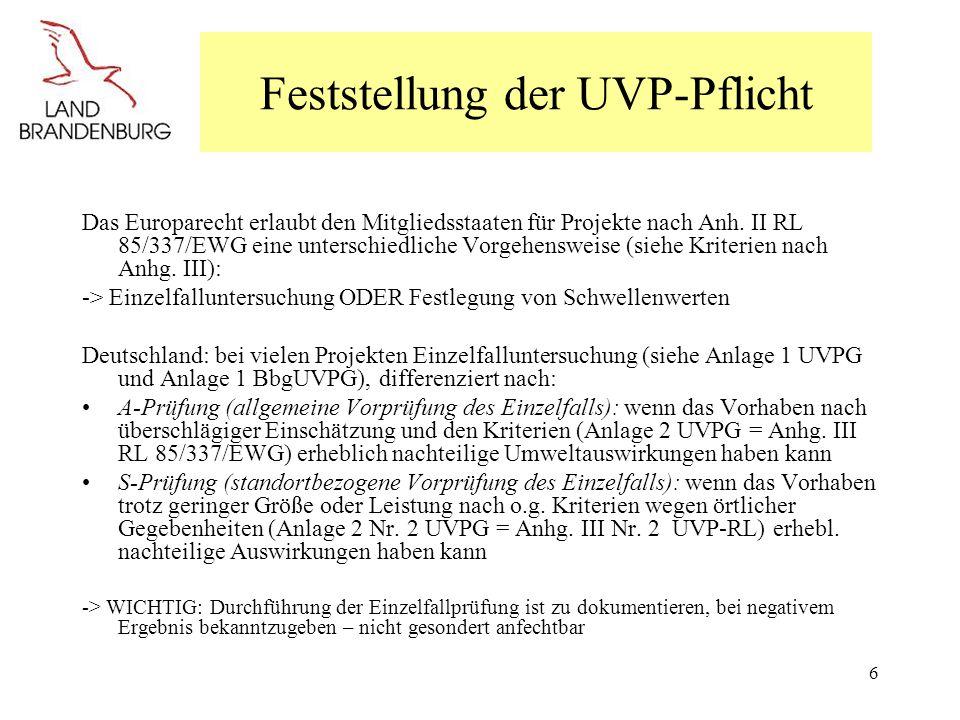 Feststellung der UVP-Pflicht