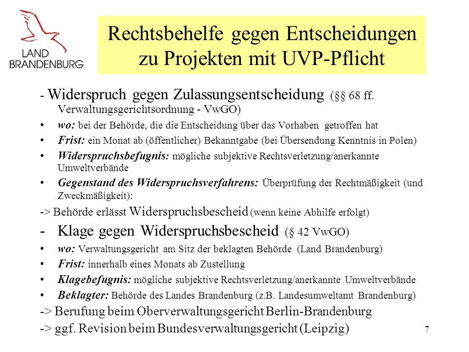 Rechtsbehelfe gegen Entscheidungen zu Projekten mit UVP-Pflicht