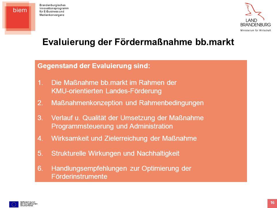 Evaluierung der Fördermaßnahme bb.markt