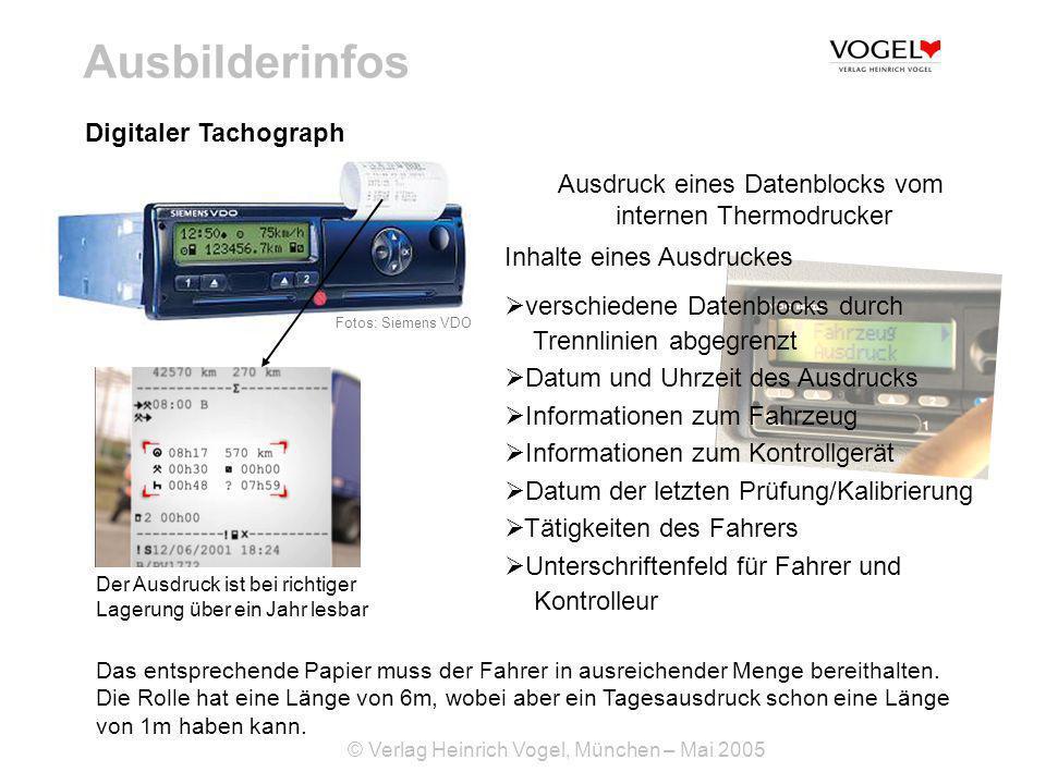 Ausbilderinfos Digitaler Tachograph Ausdruck eines Datenblocks vom