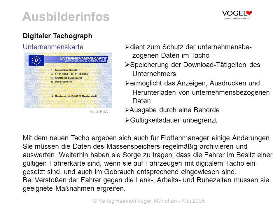 Ausbilderinfos Digitaler Tachograph Unternehmenskarte