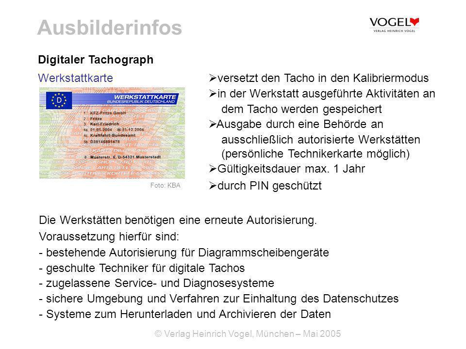 Ausbilderinfos Digitaler Tachograph Werkstattkarte