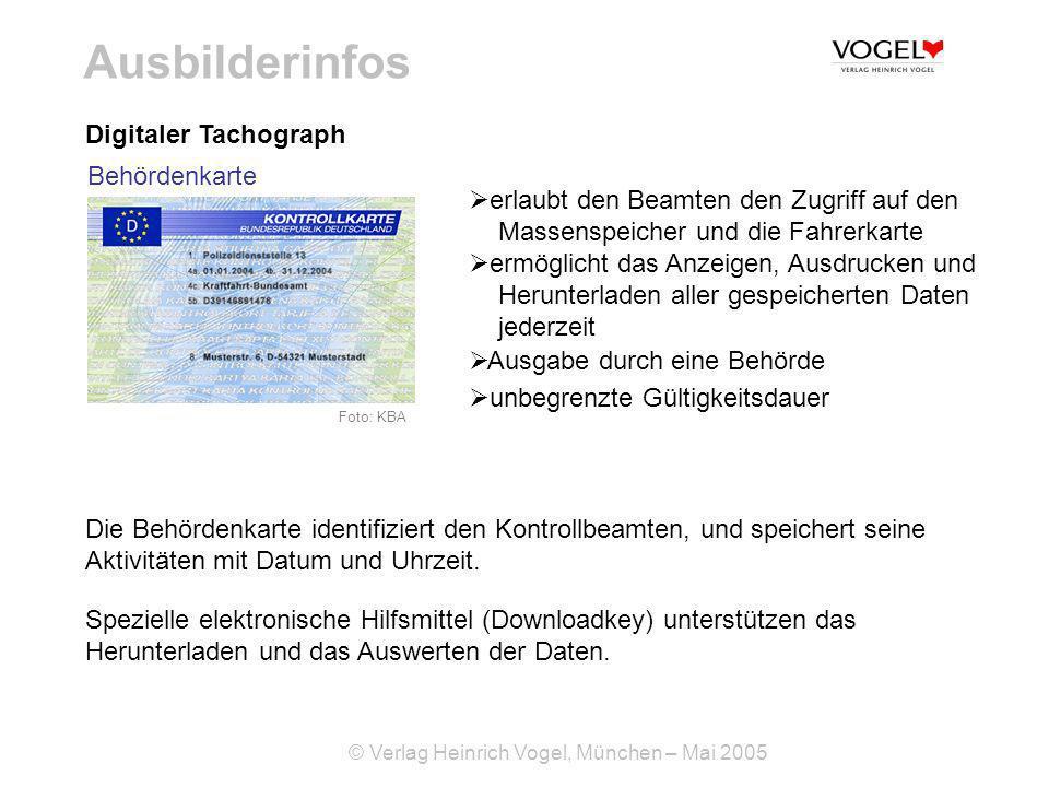 Ausbilderinfos Digitaler Tachograph Behördenkarte