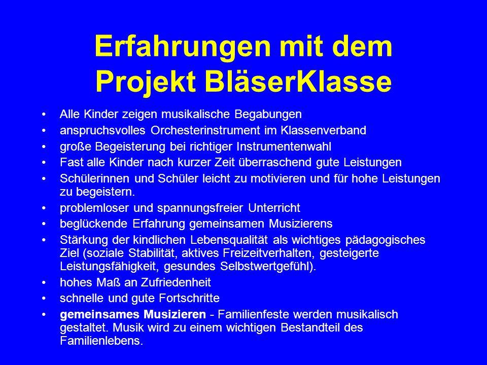 Erfahrungen mit dem Projekt BläserKlasse