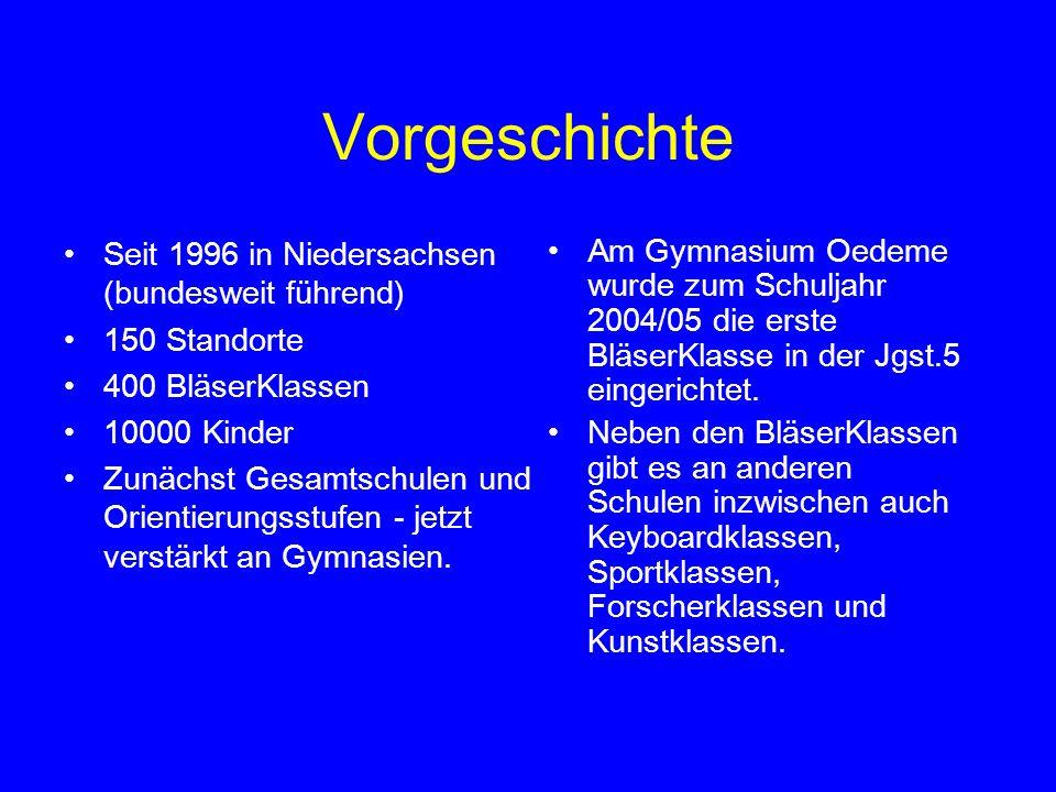 Vorgeschichte Seit 1996 in Niedersachsen (bundesweit führend)