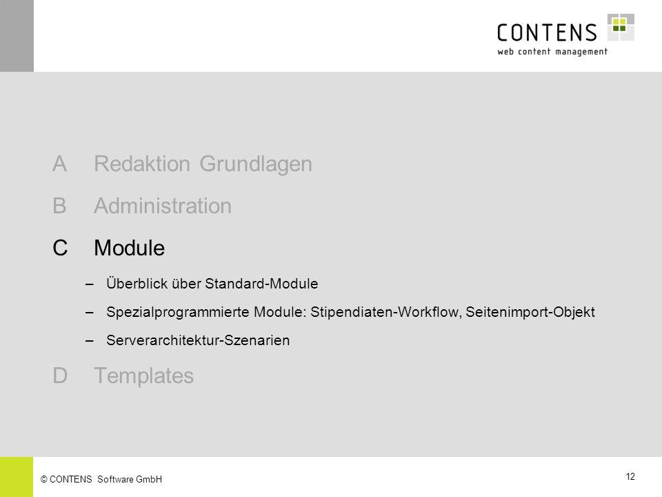 A Redaktion Grundlagen B Administration C Module