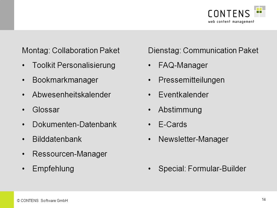 Montag: Collaboration Paket Toolkit Personalisierung Bookmarkmanager