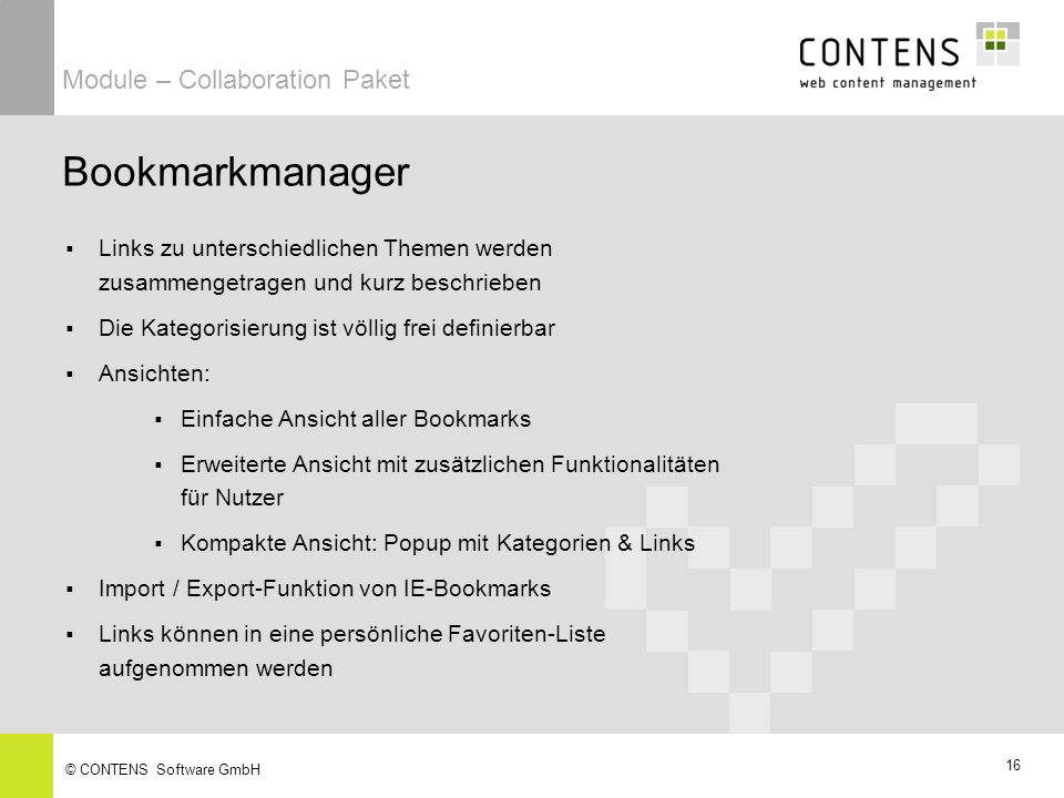 Bookmarkmanager Module – Collaboration Paket