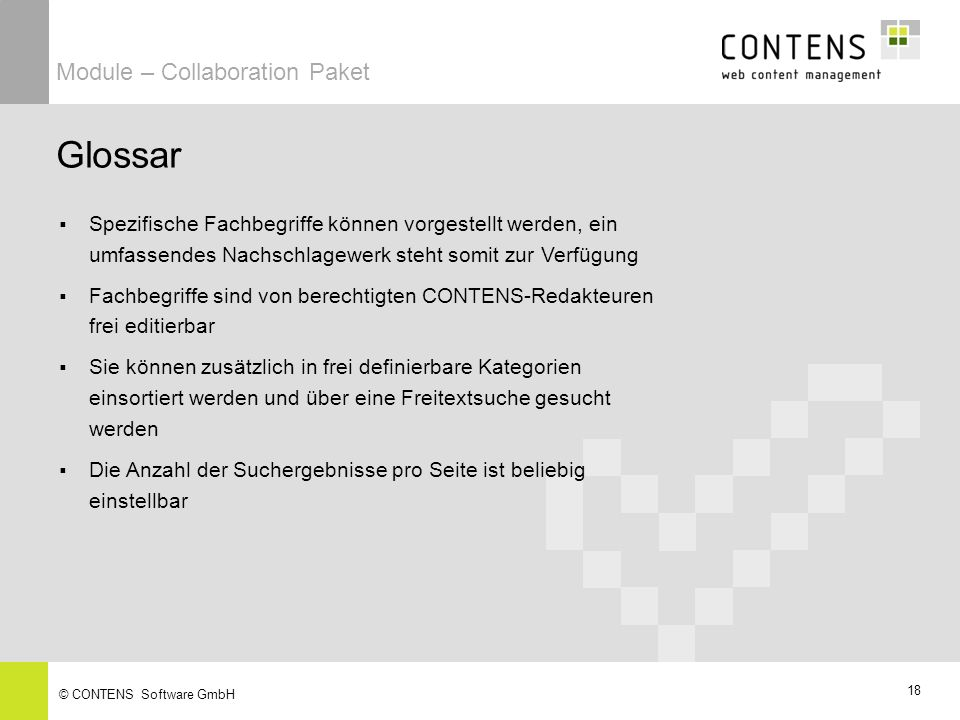 Glossar Module – Collaboration Paket