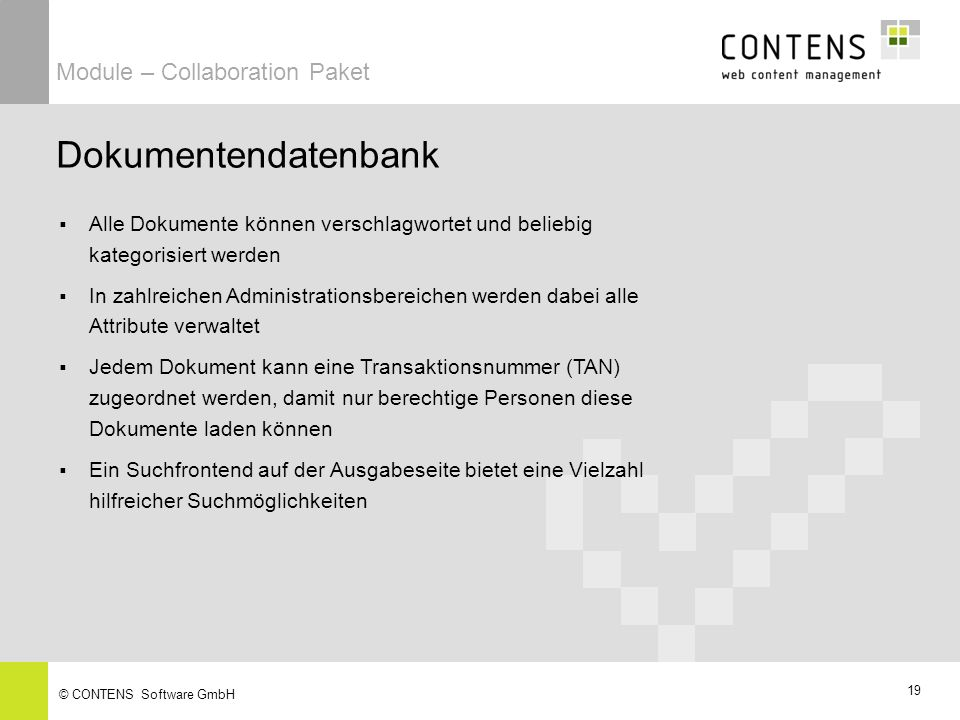 Dokumentendatenbank Module – Collaboration Paket