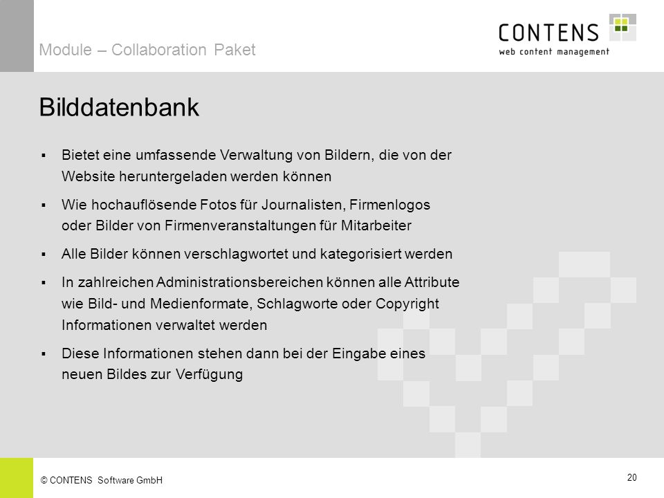 Bilddatenbank Module – Collaboration Paket