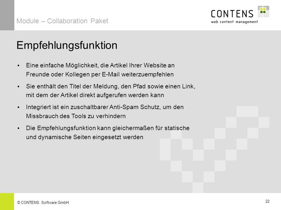 Empfehlungsfunktion Module – Collaboration Paket
