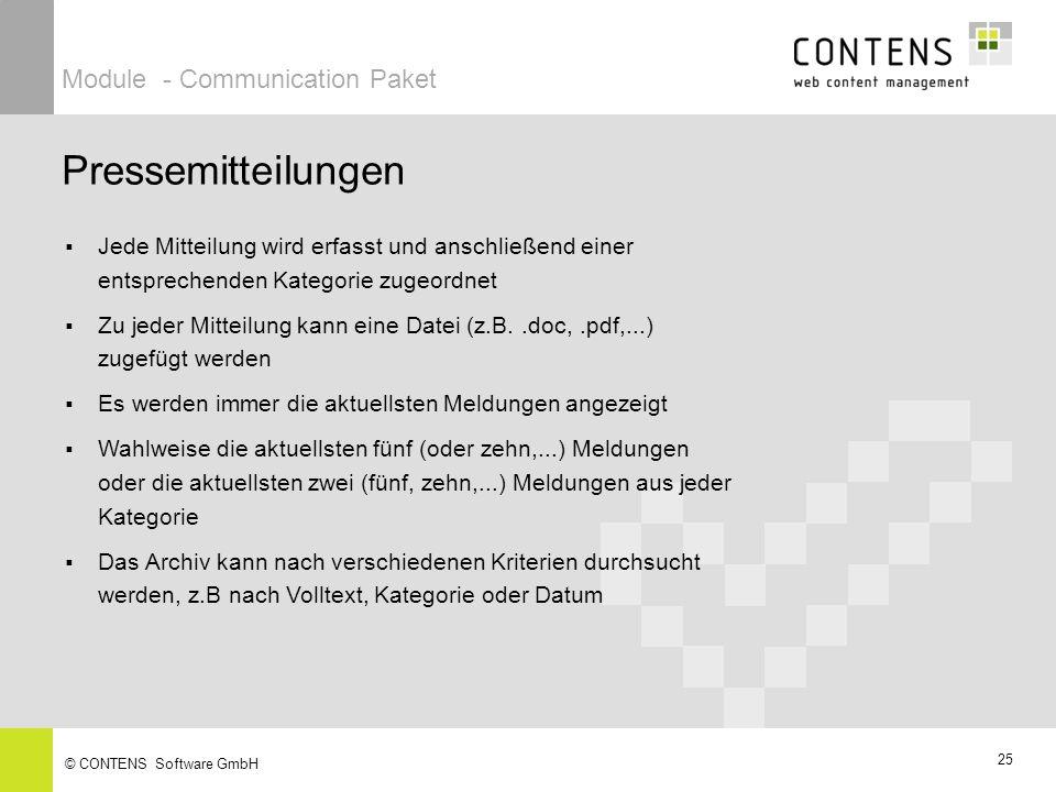 Pressemitteilungen Module - Communication Paket