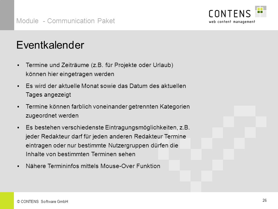 Eventkalender Module - Communication Paket