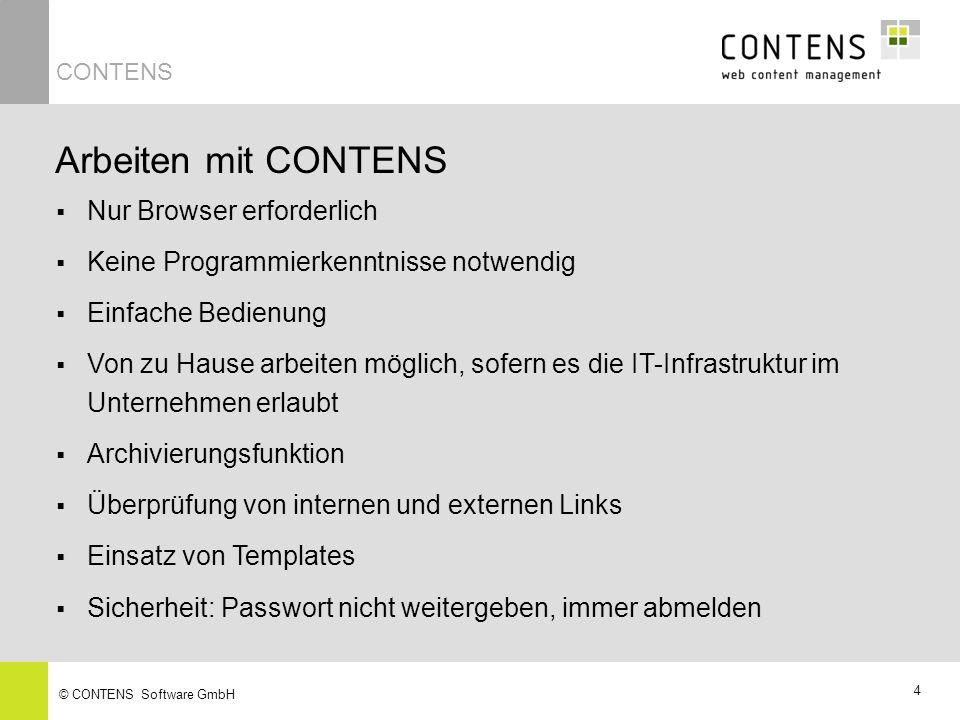Arbeiten mit CONTENS Nur Browser erforderlich