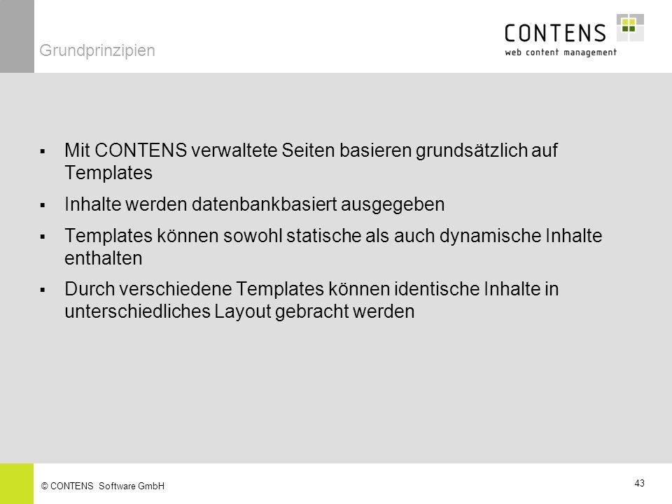 Mit CONTENS verwaltete Seiten basieren grundsätzlich auf Templates