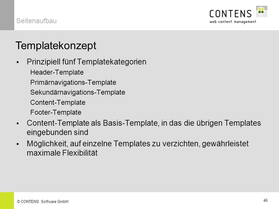 Templatekonzept Prinzipiell fünf Templatekategorien