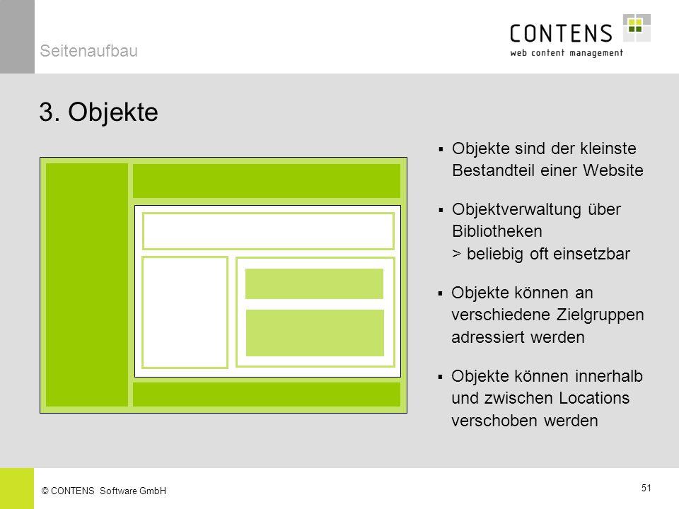 Seitenaufbau 3. Objekte. Objekte sind der kleinste Bestandteil einer Website. Objektverwaltung über Bibliotheken > beliebig oft einsetzbar.