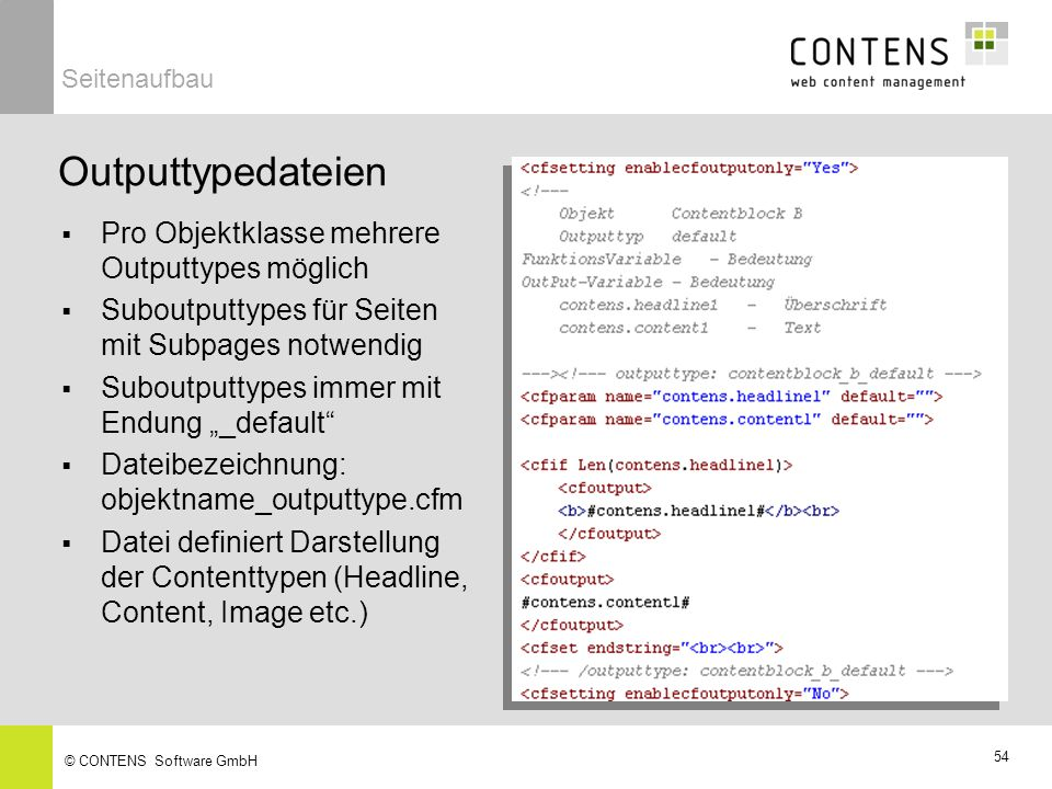 Outputtypedateien Pro Objektklasse mehrere Outputtypes möglich