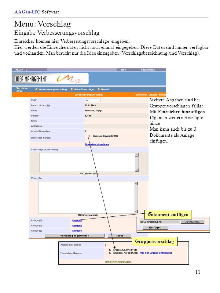 Menü: Vorschlag Eingabe Verbesserungsvorschlag AAGen-ITC Software