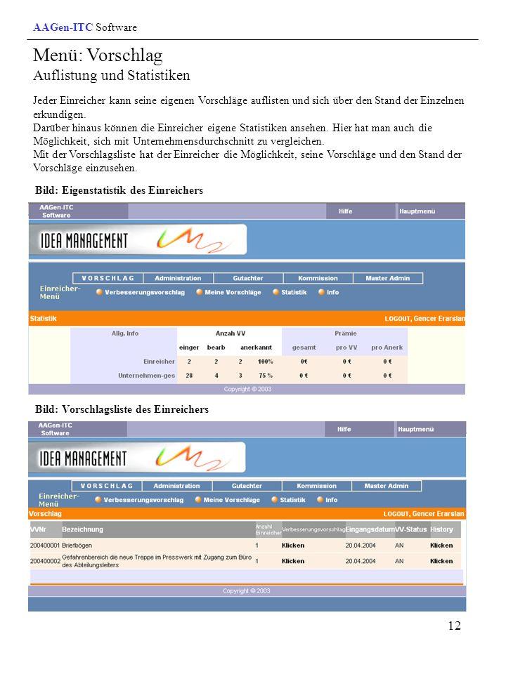 Menü: Vorschlag Auflistung und Statistiken