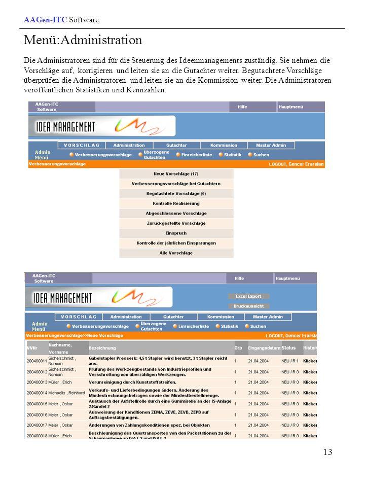 Menü:Administration AAGen-ITC Software