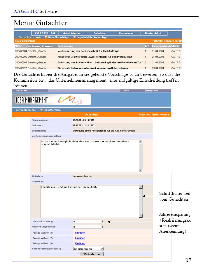 Menü: Gutachter AAGen-ITC Software