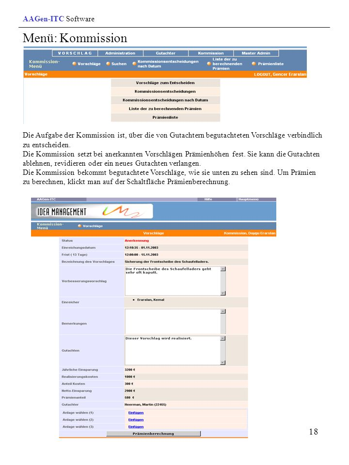 Menü: Kommission AAGen-ITC Software