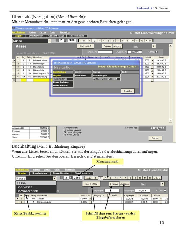 AAGen-ITC Software Übersicht (Navigation) (Menü-Übersicht): Mit der Menüübersicht kann man zu den gewünschten Bereichen gelangen.
