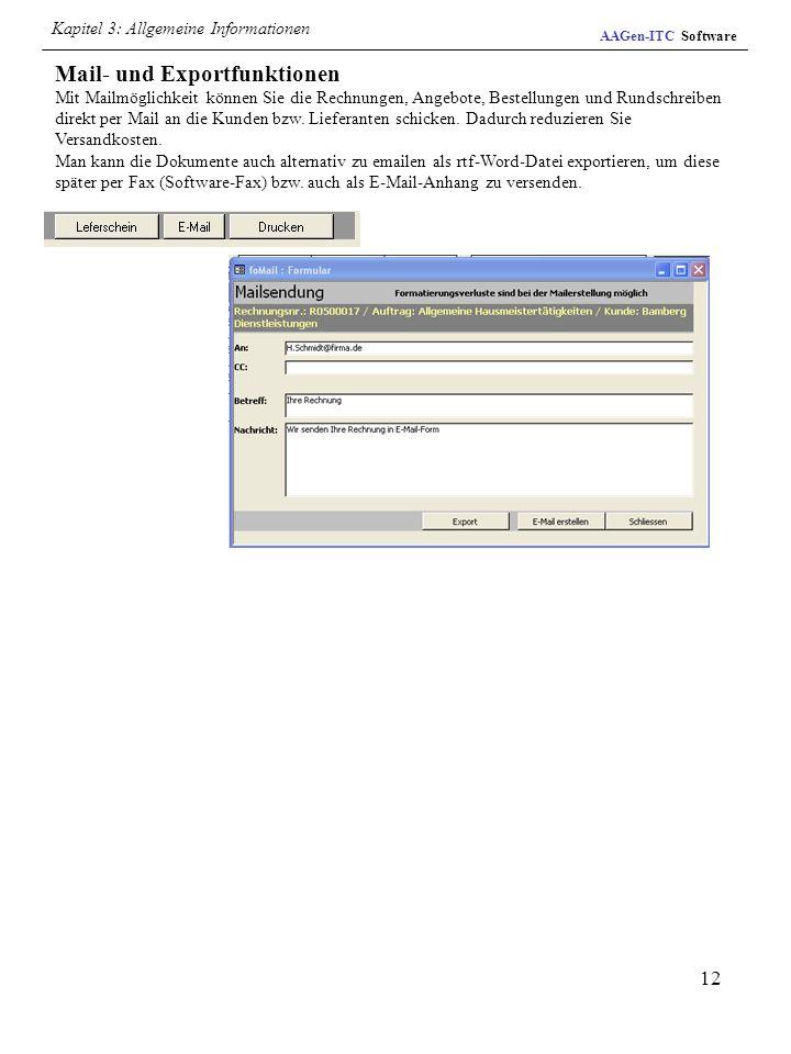 Mail- und Exportfunktionen