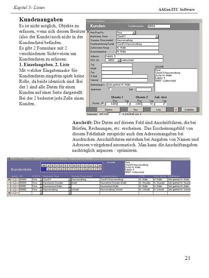 Kapitel 5: Listen AAGen-ITC Software.