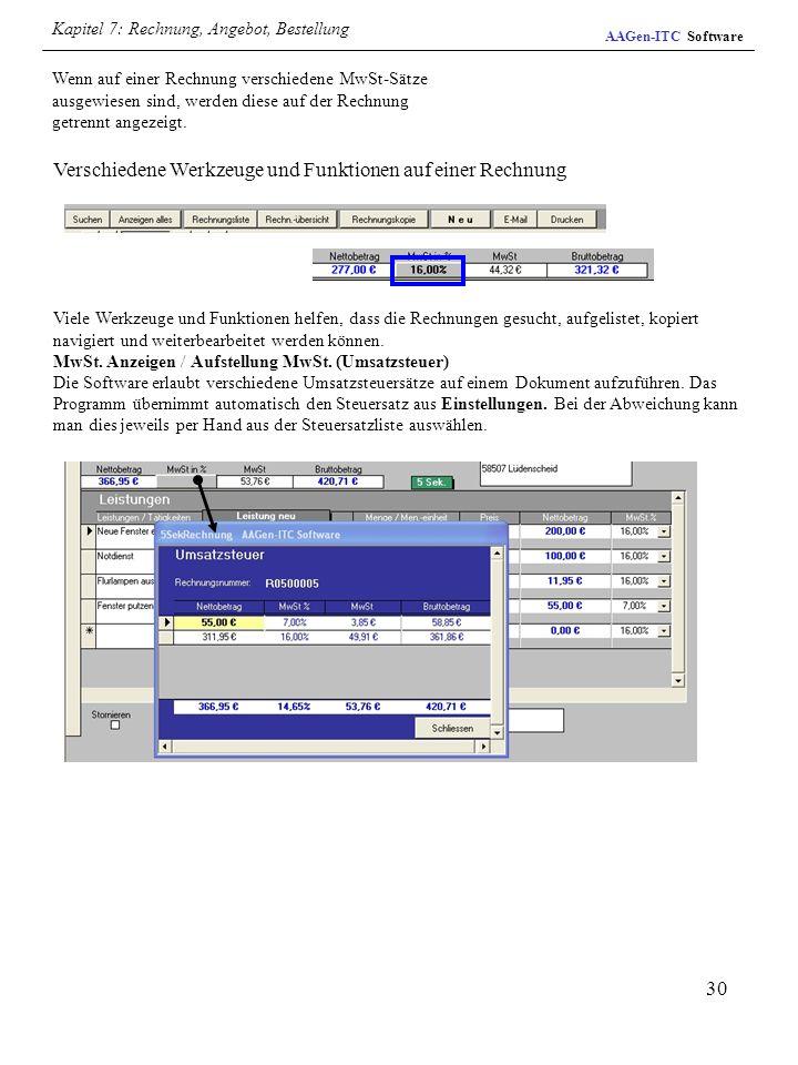 Verschiedene Werkzeuge und Funktionen auf einer Rechnung