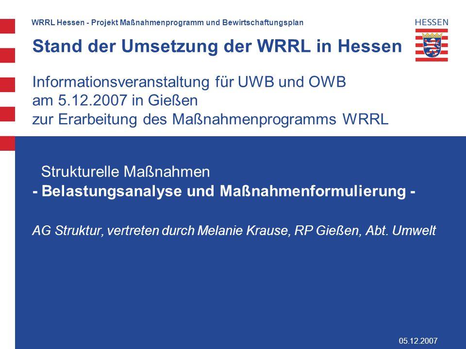 Stand der Umsetzung der WRRL in Hessen Informationsveranstaltung für UWB und OWB am 5.12.2007 in Gießen zur Erarbeitung des Maßnahmenprogramms WRRL