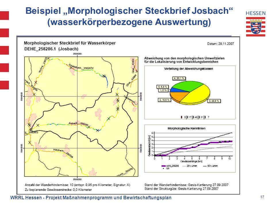 """Beispiel """"Morphologischer Steckbrief Josbach (wasserkörperbezogene Auswertung)"""