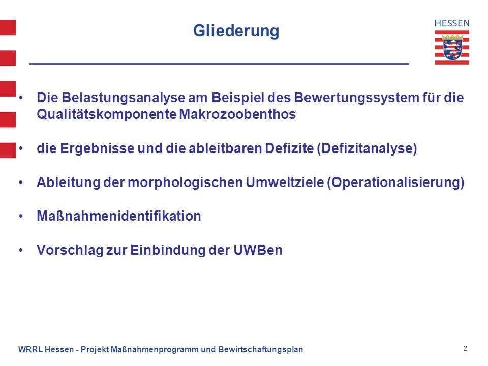 Gliederung Die Belastungsanalyse am Beispiel des Bewertungssystem für die Qualitätskomponente Makrozoobenthos.