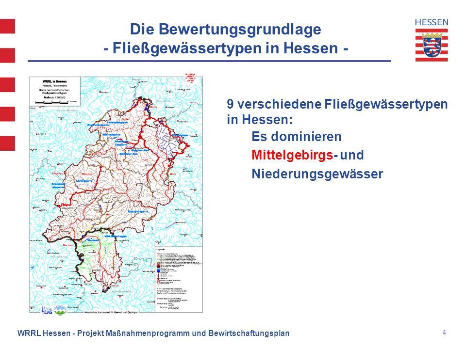 Die Bewertungsgrundlage - Fließgewässertypen in Hessen -