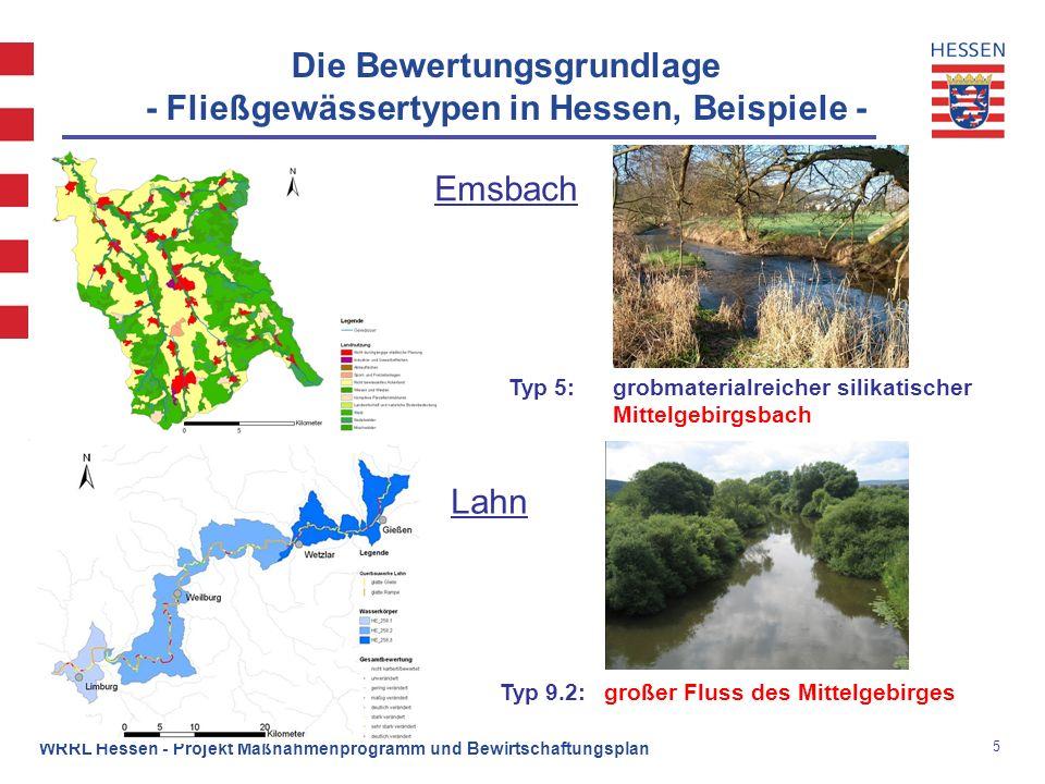 Die Bewertungsgrundlage - Fließgewässertypen in Hessen, Beispiele -