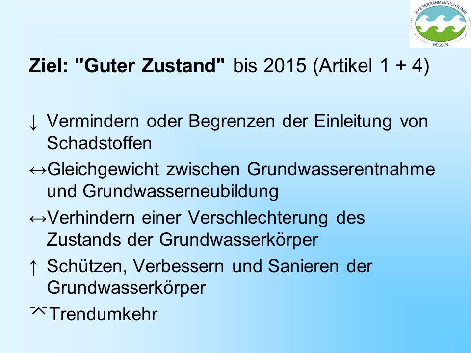 Ziel: Guter Zustand bis 2015 (Artikel 1 + 4)