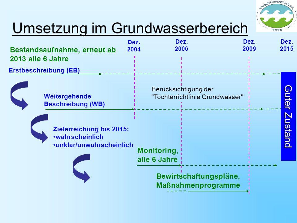 Umsetzung im Grundwasserbereich