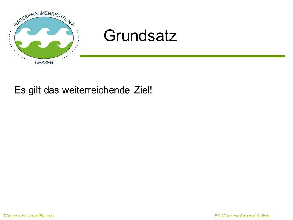 Grundsatz Es gilt das weiterreichende Ziel! Wasserwirtschaft Hessen